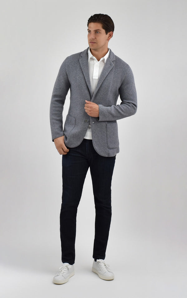 Cashmere Knit Blazer in Grey