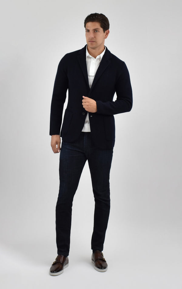 Cashmere Knit Blazer in Navy