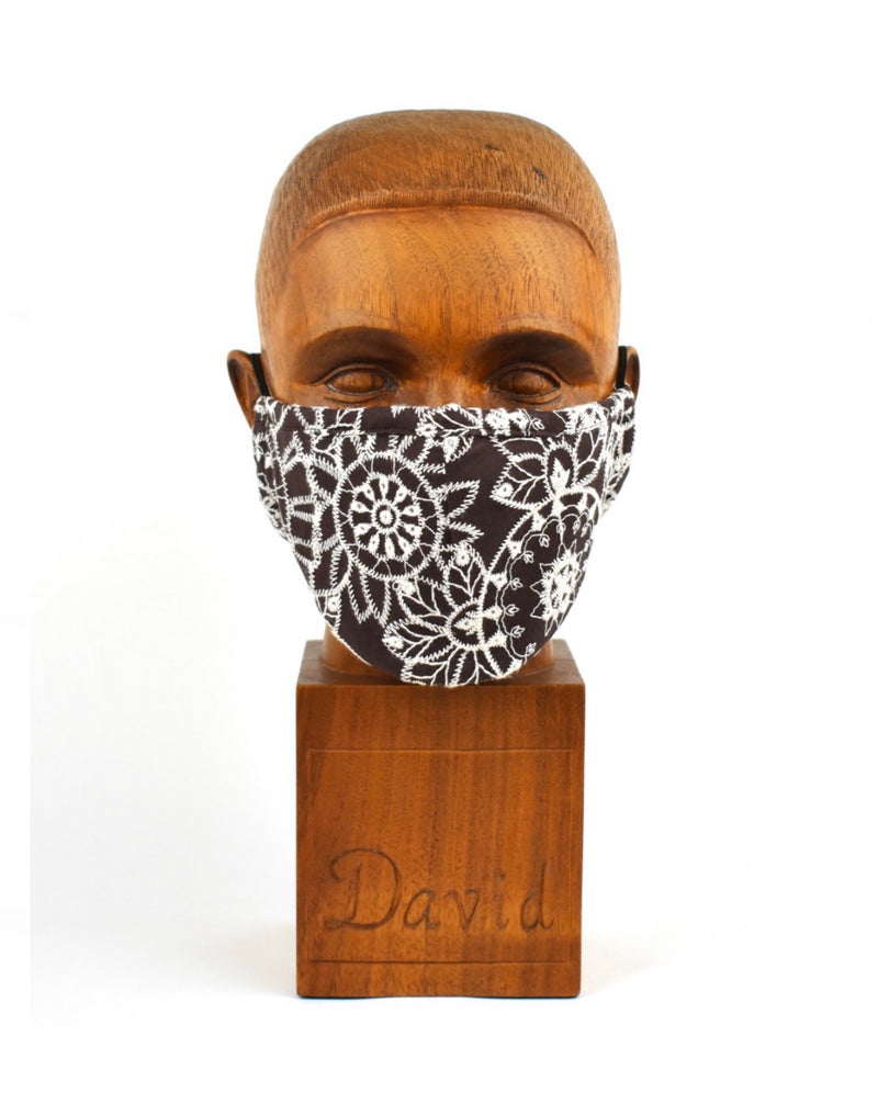 Premium Brown with White Abstract Cloth Face Mask - FM24