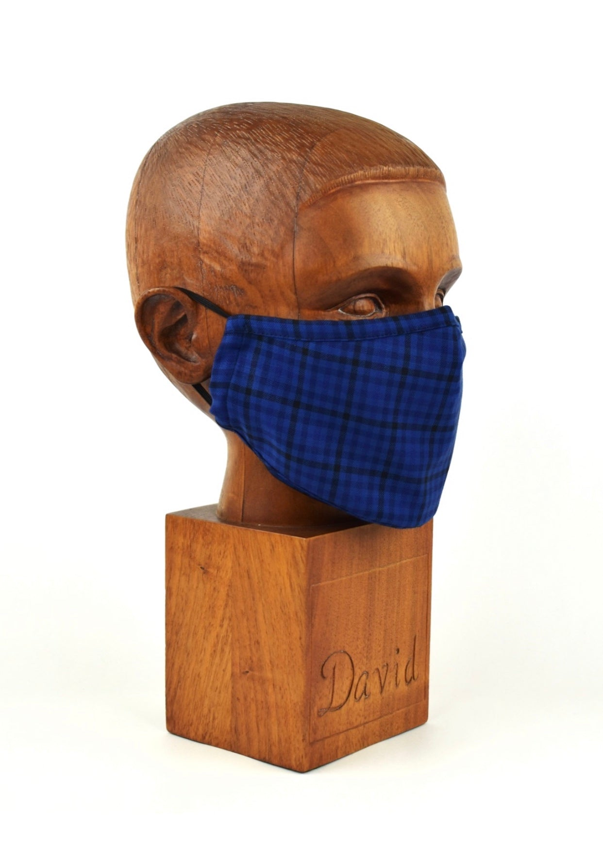 Premium Blue and Navy Check Cloth Face Mask - FM25