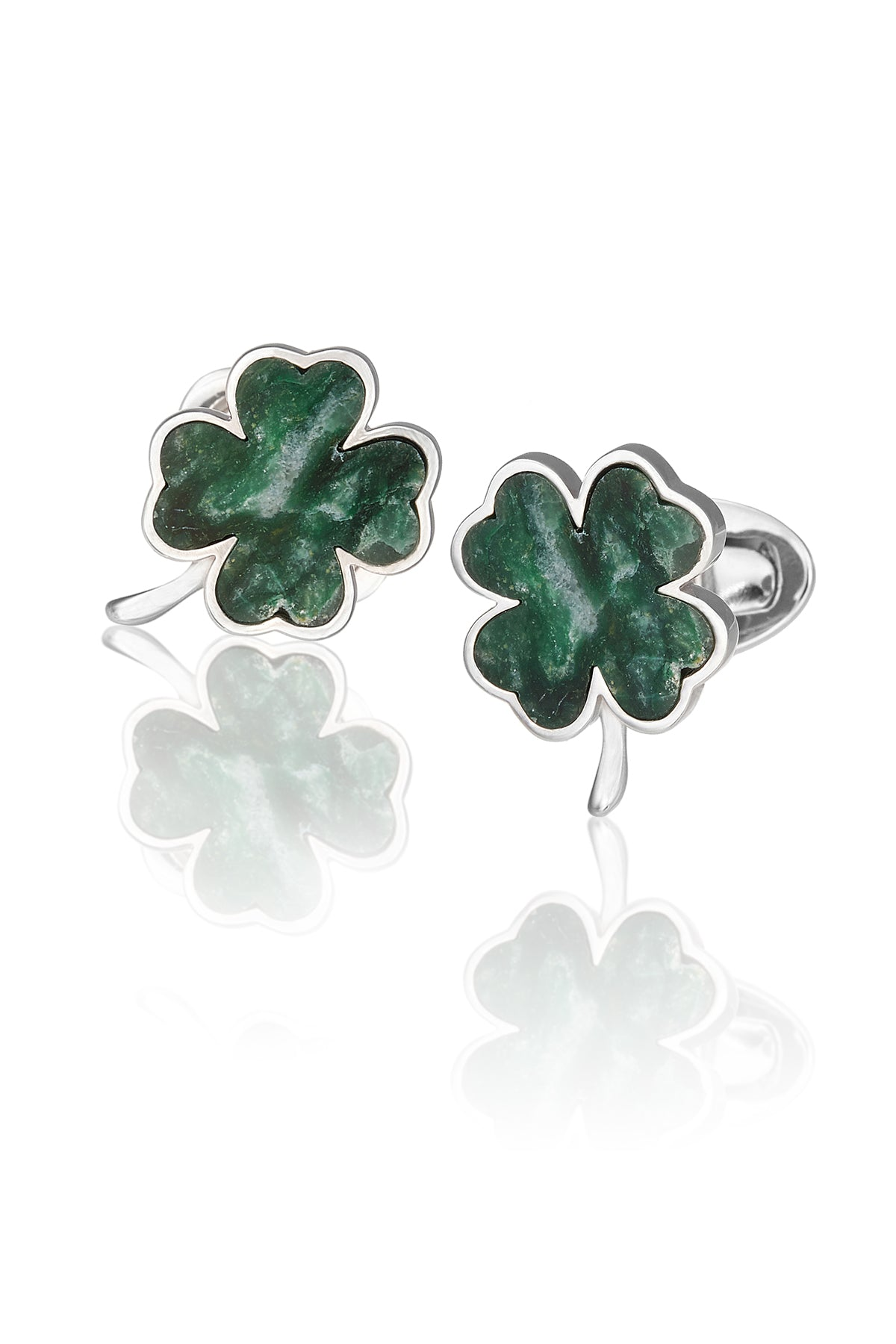 Italian Green Onyx Four-Leaf Clover Cufflinks