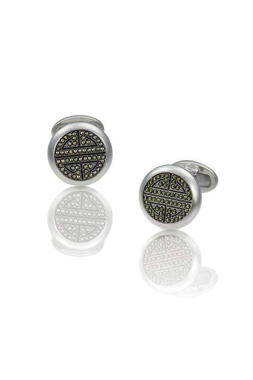 Jan Leslie Marcasite Greek Key Button Cufflinks Sterling Silver