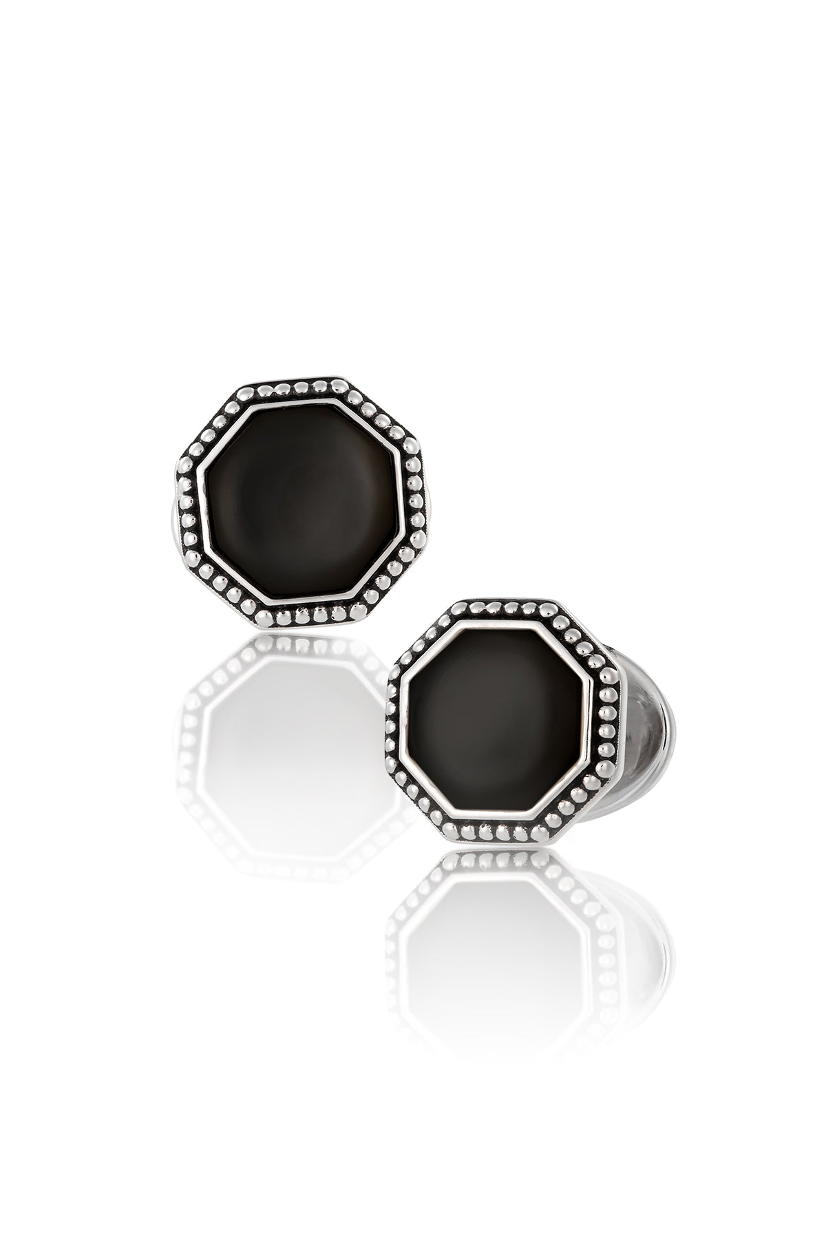 Jan Leslie Black Onyx & Antique Border Octagon Cufflinks Sterling Silver