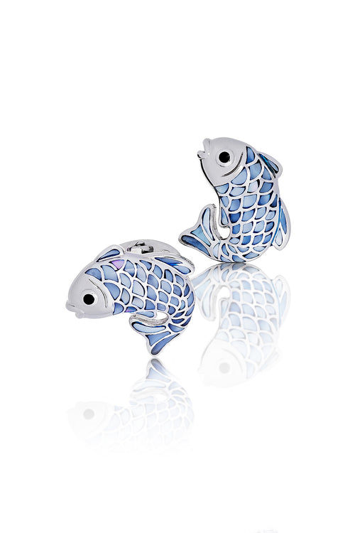 Jan Leslie Koi Fish Gemstone Cufflinks Sterling Silver Mother of Pearl Enamel Abalone
