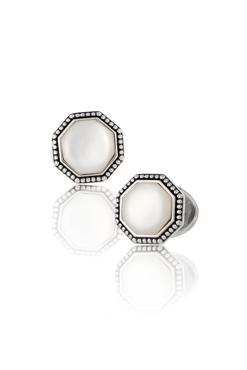 Jan Leslie Mother of Pearl & Antique Border Octagon Cufflinks Sterling Silver White