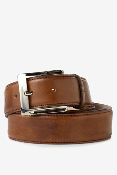 Genuine Italian Calfskin Belt in Light Brown
