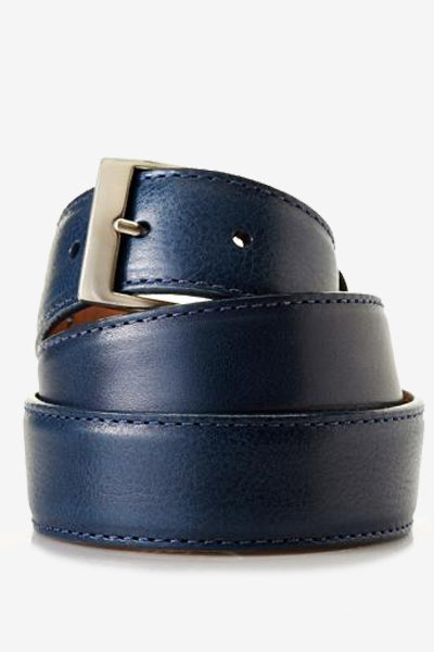Navy Blue Genuine Italian Calfskin Belt