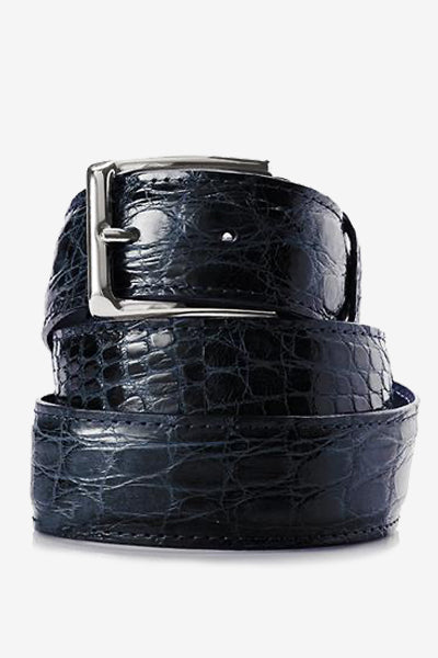 Navy Blue Glossy Crocodile Belt