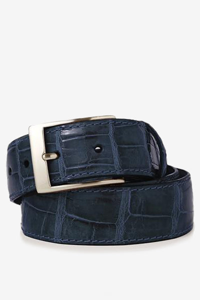 Navy Glossy Alligator Belt