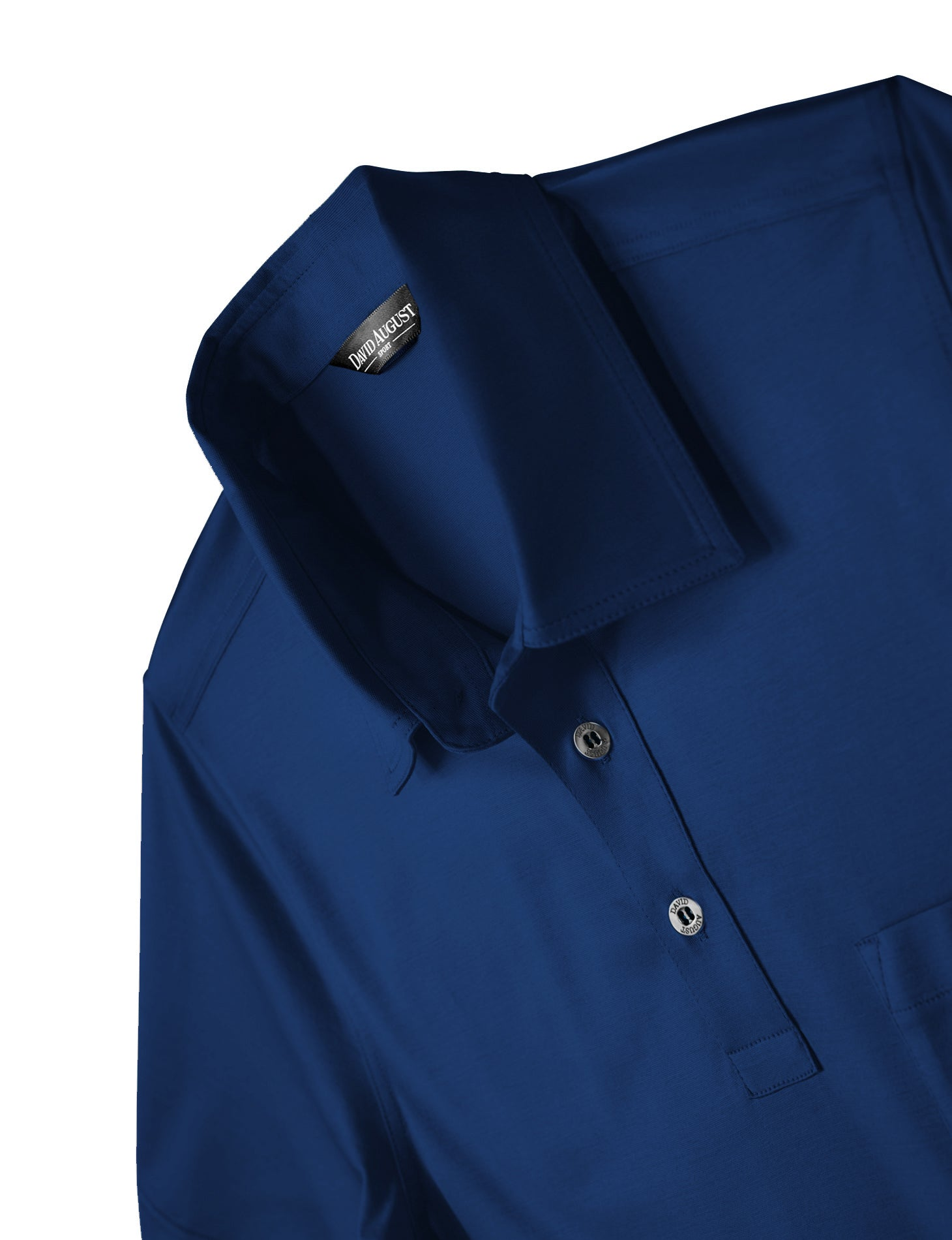 David August Luxury Mercerized Cotton Polo in Medium Blue