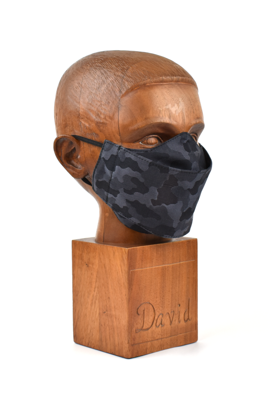 Premium Black with Grey Camo Flat Front Cloth Face Mask - FM41