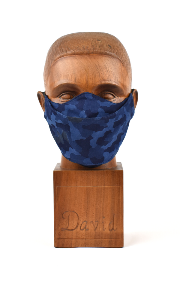 Premium Navy Camo Flat Front Cloth Face Mask - FM42