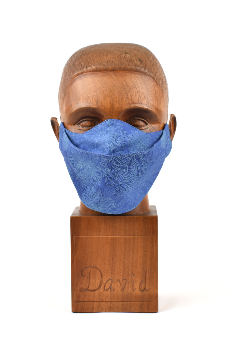Premium Blue Abstract Flat Front Cloth Face Mask - FM39