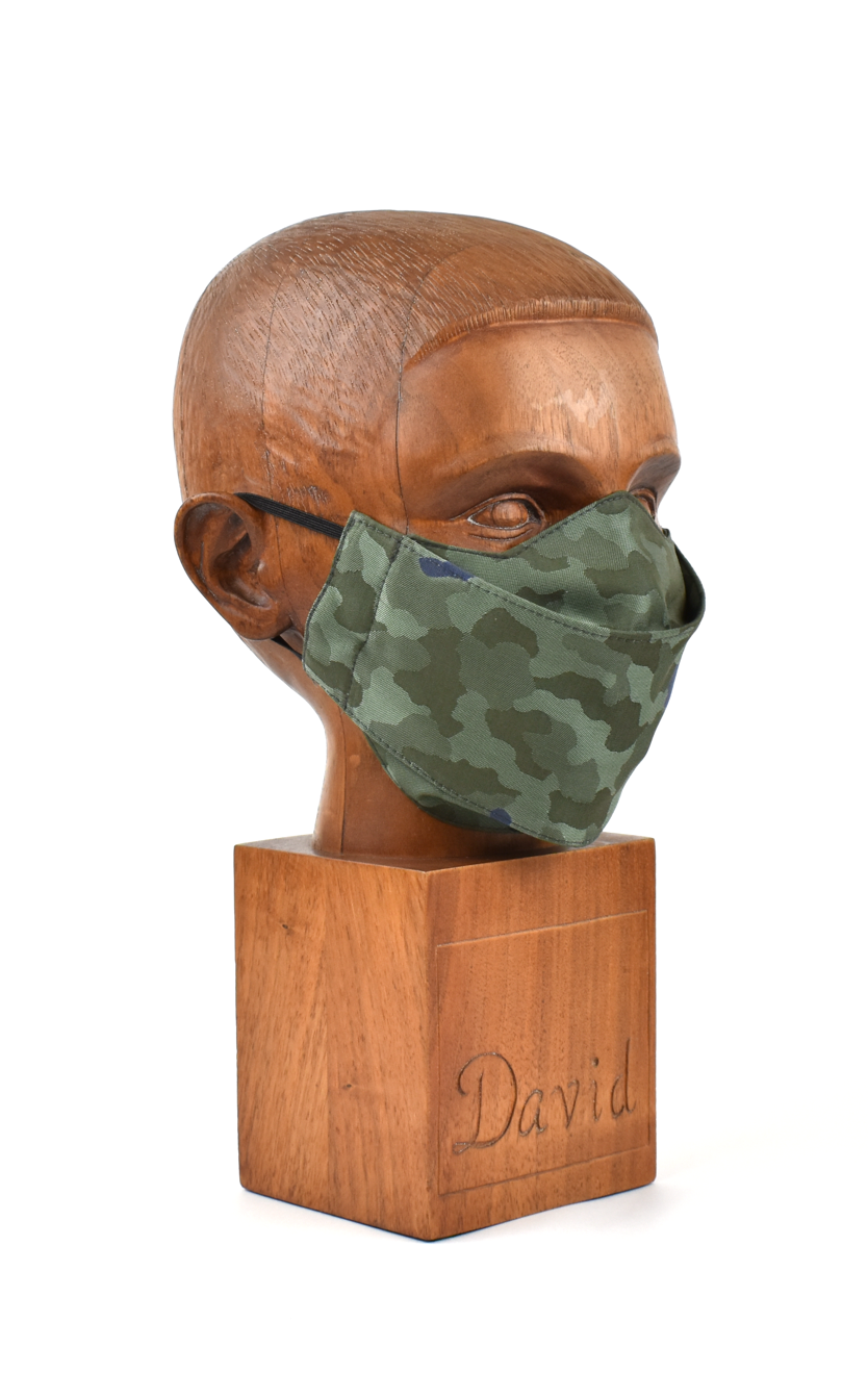 Premium Green Camo Flat Front Cloth Face Mask - FM43