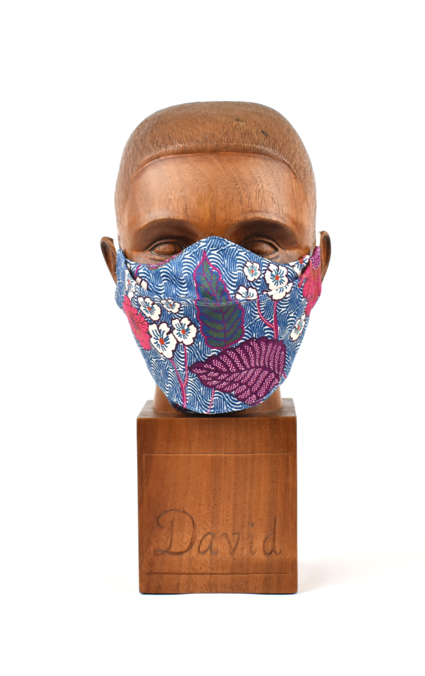 Premium Blue Wave with Pink Floral Flat Front Cloth Face Mask - FM47