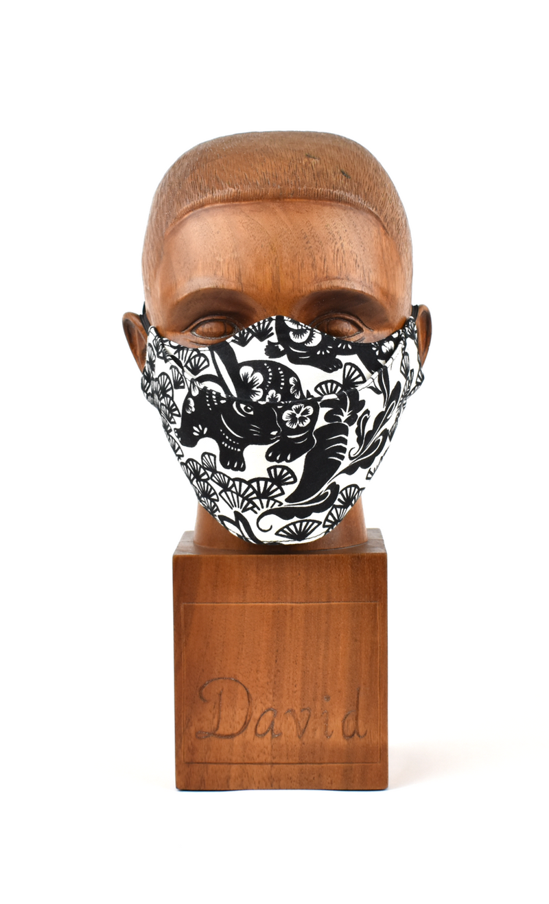 Premium Black with White Floral Flat Front Cloth Face Mask - FM46