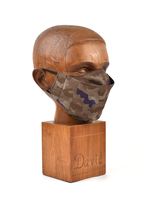 Premium Brown Camo Flat Front Cloth Face Mask - FM44
