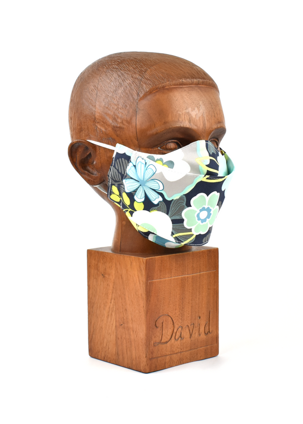 Premium Navy with Turquoise & White Floral Flat Front Cloth Face Mask - FM48