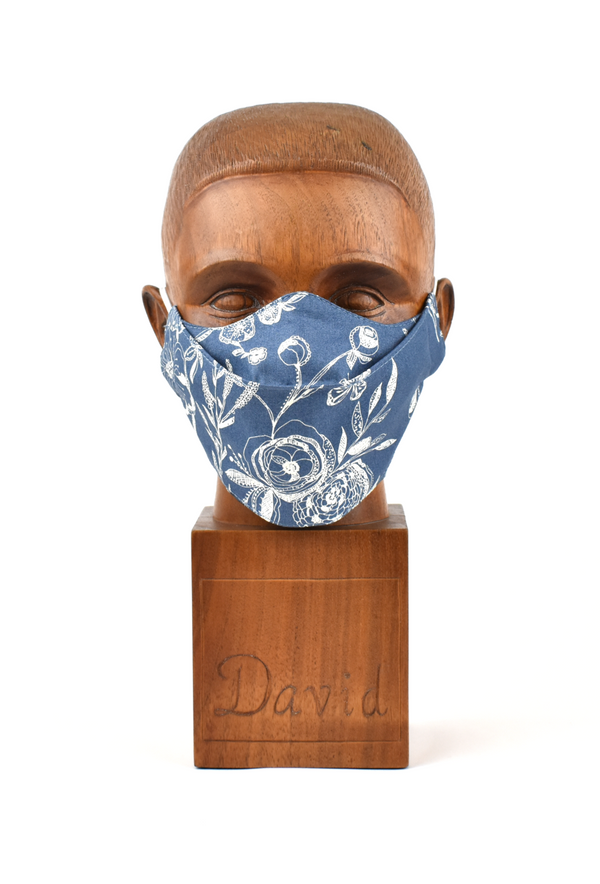 Premium Blue Poppy Flat Front Cloth Face Mask - FM40