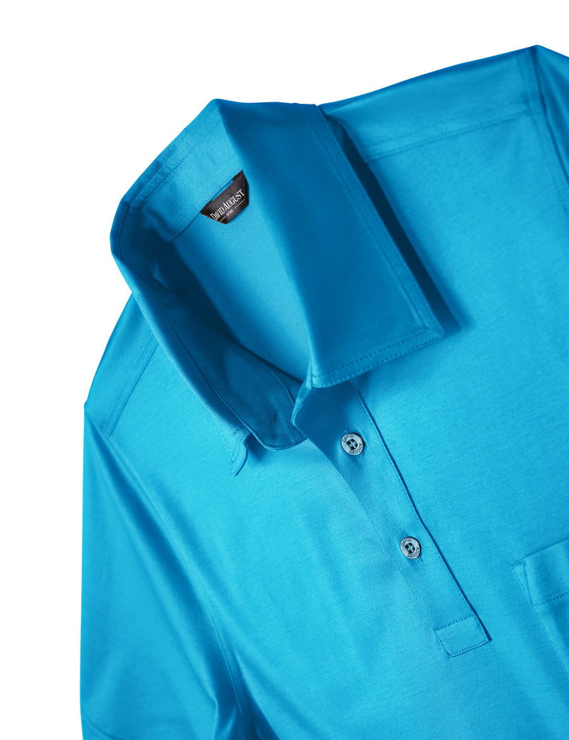 David August Mercerized Cotton Polo turquoise