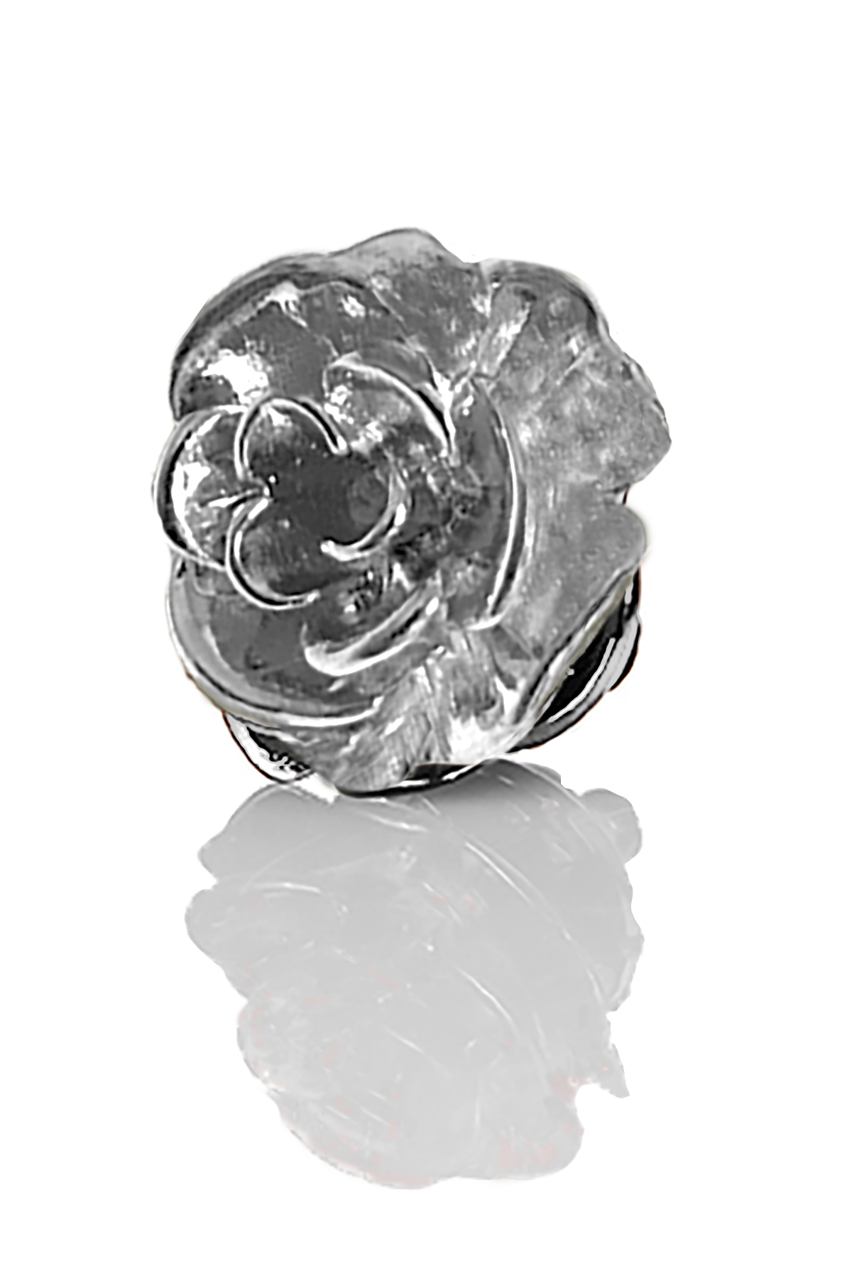 David August Open Rose Lapel Pin - Rhodium