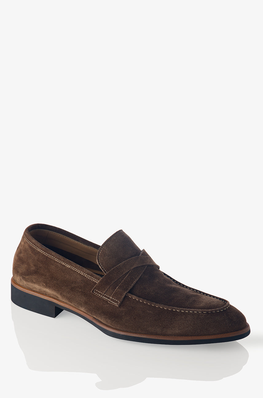 David August Suede Penny Loafer in Farro