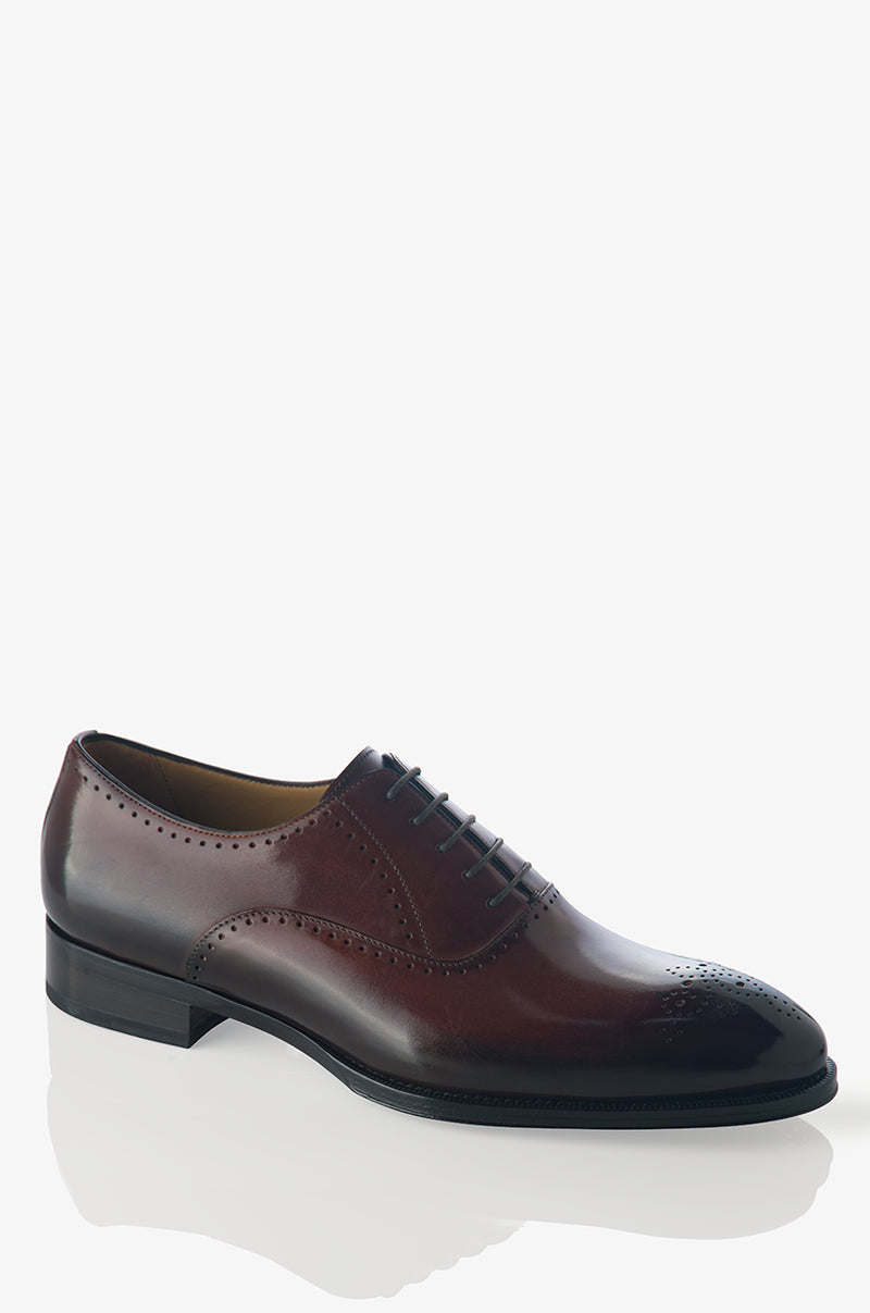 David August Leather Brogue Oxford in Marron Degrede