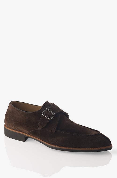 David August Suede Monk Strap in Mustang