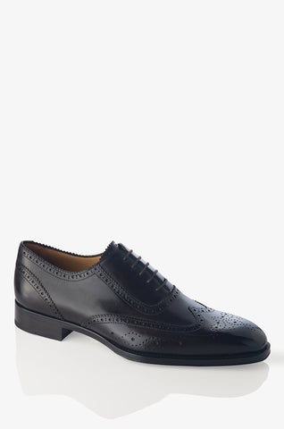 David August Leather Lace Up Cross Stitched Oxfords in Black