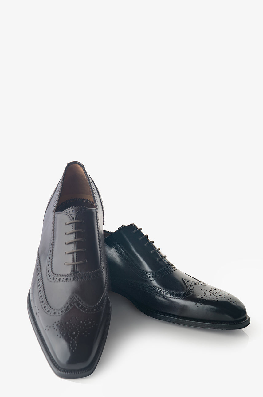 David August Leather Brogue Oxford in Dark Black Nero Fondente