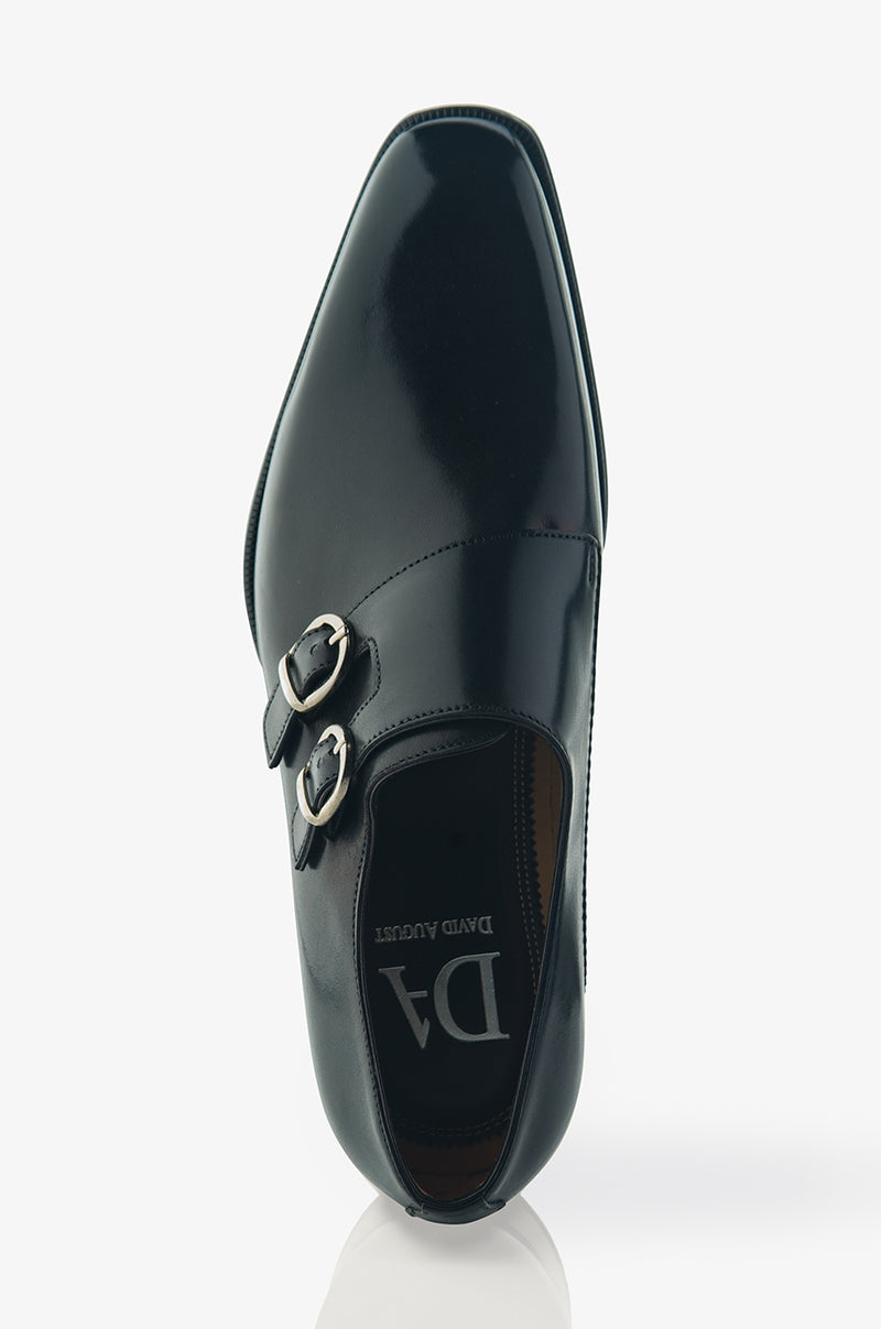 David August Leather Double Monk-strap Shoes in Nero Black