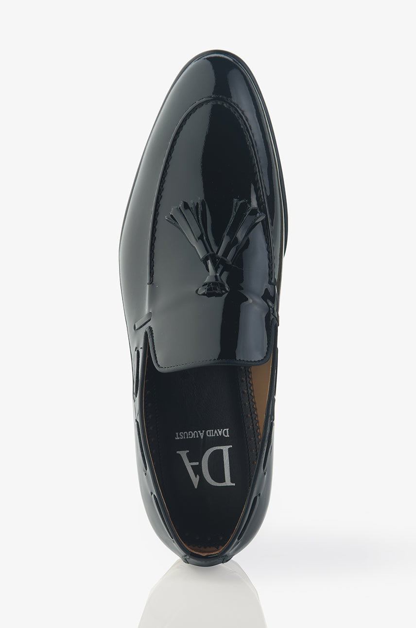 David August Patent Leather Tassel Loafer in Black Paint Vernice Nero