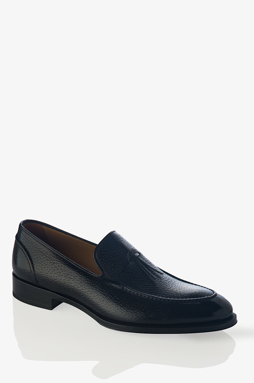 David August Pebble Grain Leather Belgian Loafer in Black Peccary Nero