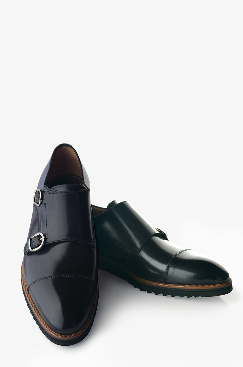 David August Leather Double Buckle Monk-Strap Shoes in Dark Black Nero Fondente
