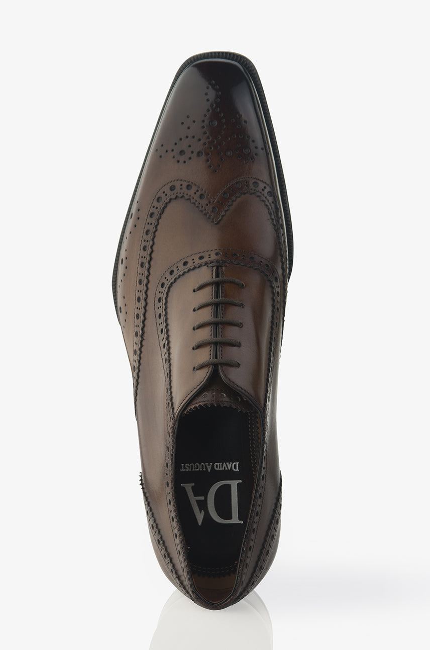 David August Leather Wingtip Brogue Shoes in Reverse Sombrero