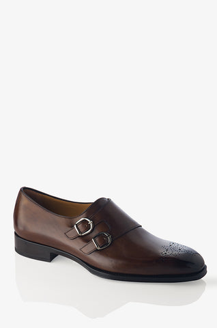 David August Leather Wingtip Brogue Shoes in Light Brown