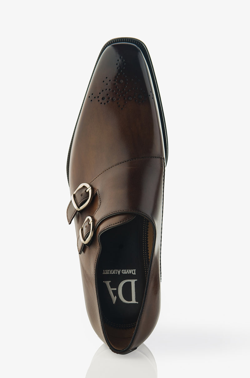 David August Leather Cap Toe Double Monk-strap Shoes in Reverse Sombrero