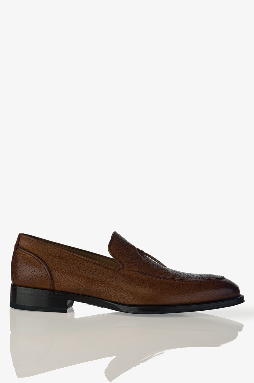 David August Pebble Grain Leather Belgian Loafer in Peccary Tobacco Di Bianco