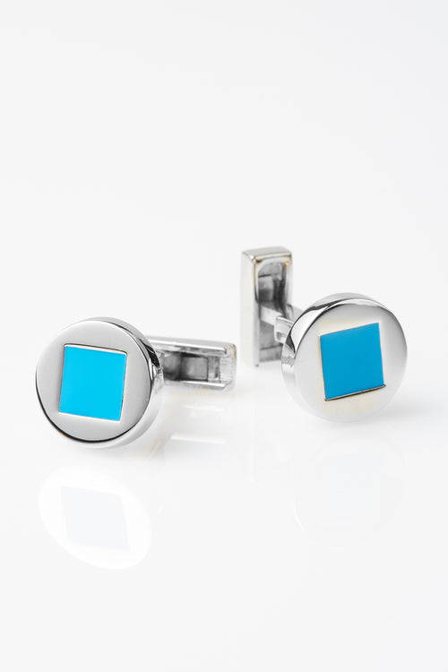 Two-Tone Keats Cufflinks in Sky Blue