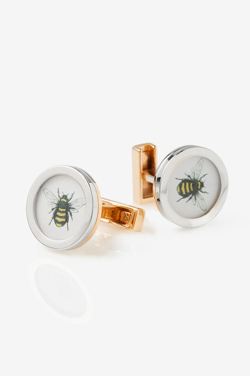 Two-Tone Bumble Bee Cufflinks