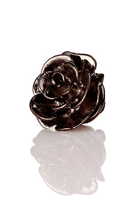 David August Open Rose Lapel Pin - Gunmetal
