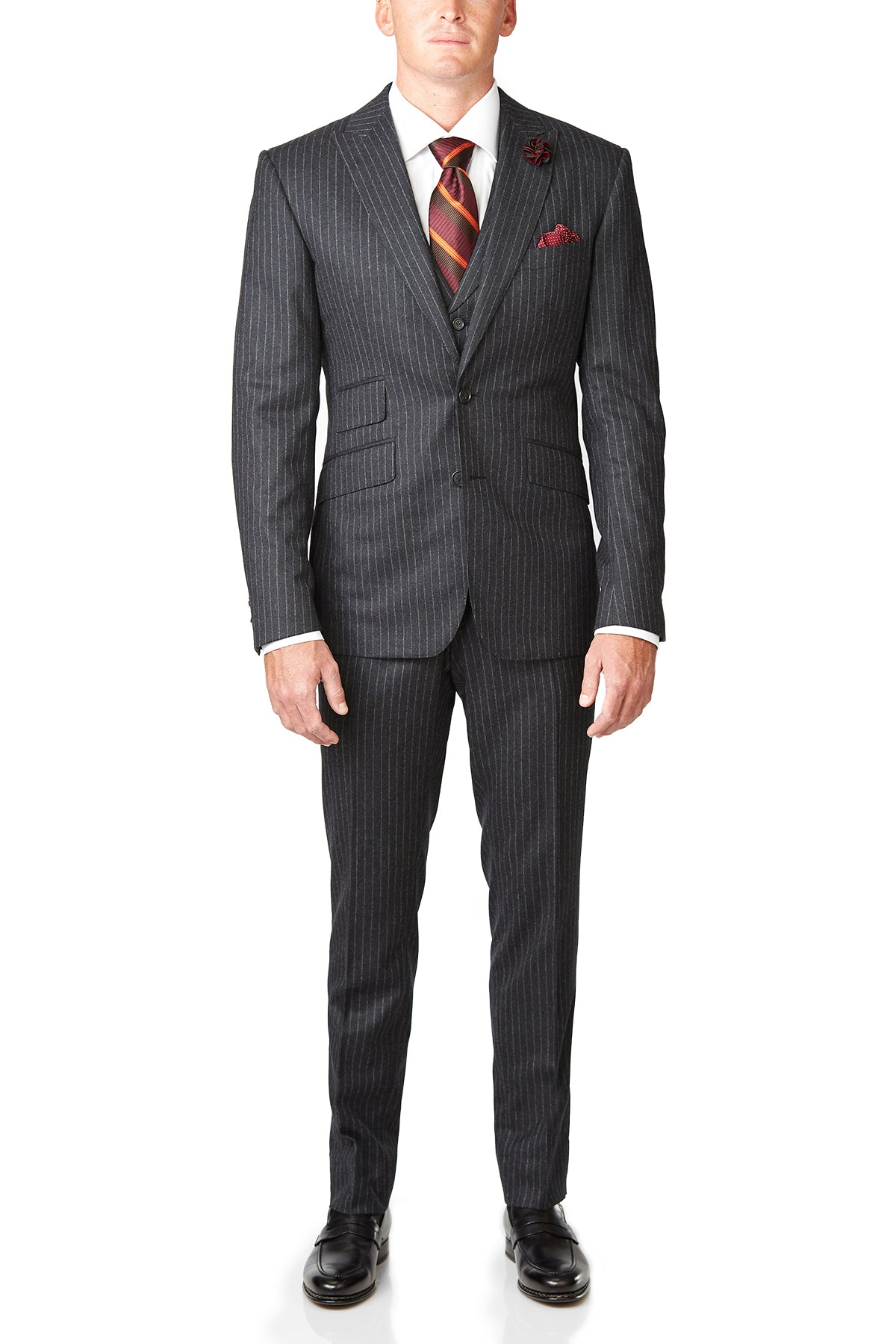 gray wool pinstripe 3 piece suit david august custom made