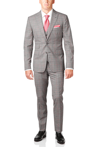 Midnight Blue Window Plaid Wool 3-Piece Suit