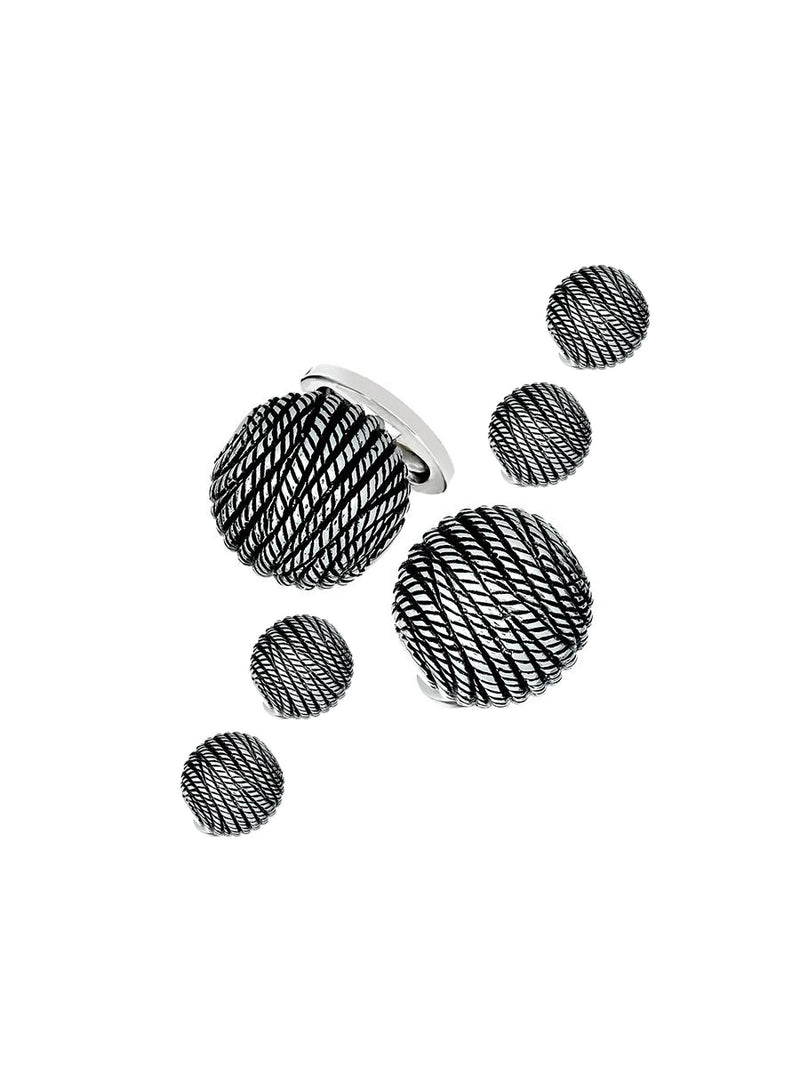 Silver Rope Dome Tuxedo Formal Set - Cufflinks and Studs