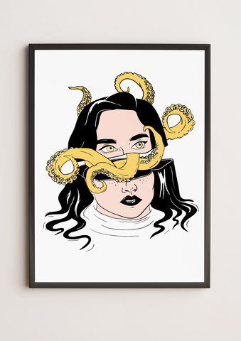 Octopus Head Framed Poster