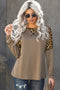 Khaki Leopard Stitching Long Sleeve Top