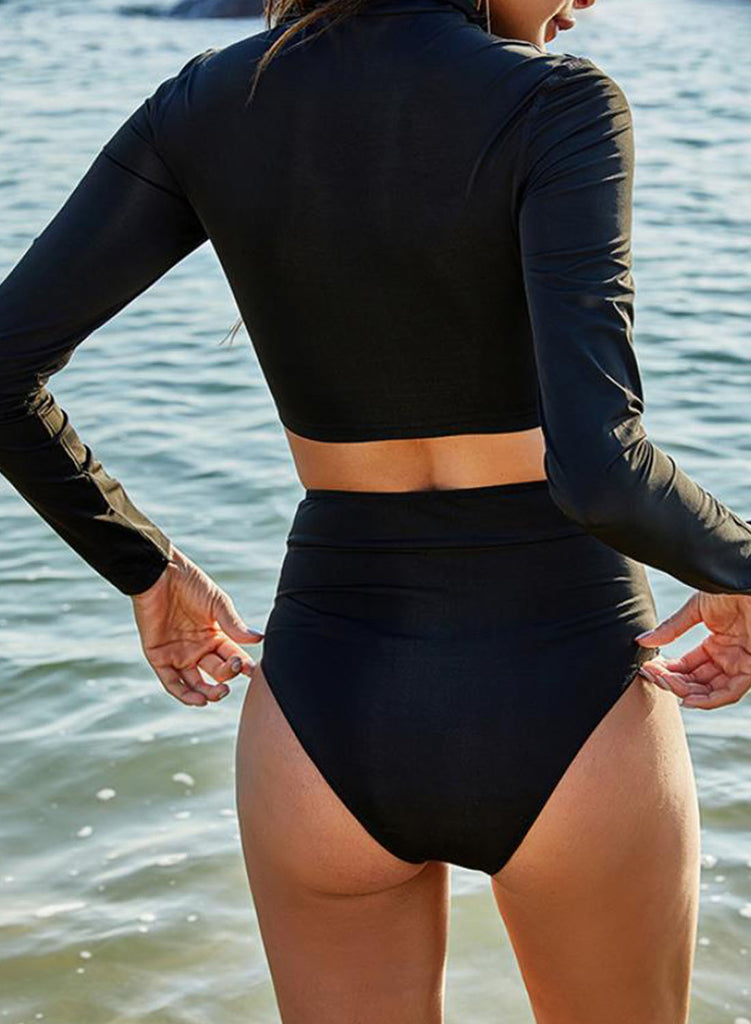 Black Women's Surf Suits Solid Long Sleeve Unadjustable High Neck Surf Suit LC482015-2