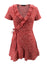 Red Women's Dress Floral A-line V Neck Short Sleeve Wrap Summer Daily Casual Mini Dress LC225507-3