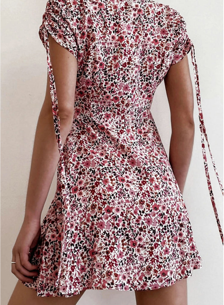 Pink Women's Dress Floral A-line V Neck Short Sleeve Drawstring Summer Daily Casual Mini Dress LC225509-10