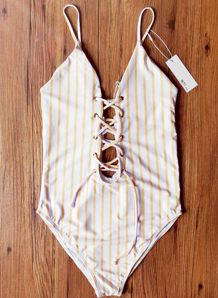 Yellow Women's Swimsuits Criss Cross Knot Drawstring Striped Padded Sleeveless Adjustable V Neck One-piece Swimsuit LC441007-7
